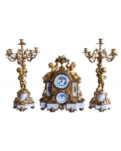 Garniture bronze Napoléon III à complications XIXème