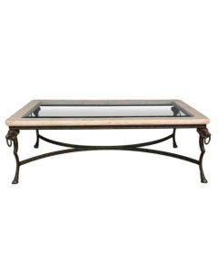 Table basse type table de boucher aux sangliers